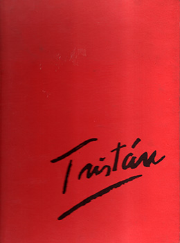 red cover of art catalogue with Tristán title