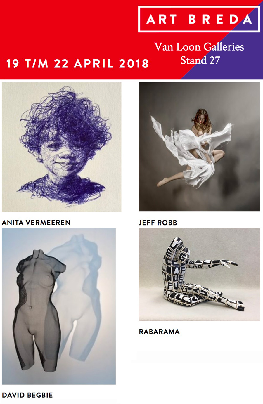 Art Fair announcement 2018 with images of artworks by David Begbie, Jeff Robb and Rabarama