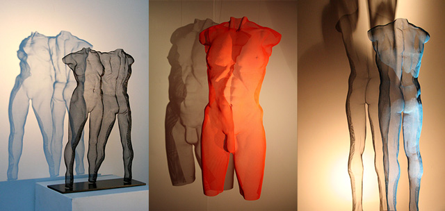 three sculptures in wire-mesh by sculptor David Begbie