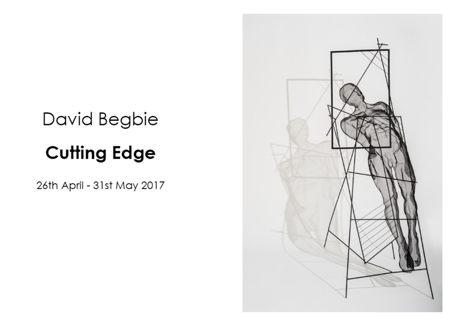invitation to art exhibition with sculptures by david begbie - male nude body in armature