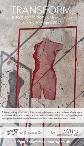 Sculpture Exhibition at Le Chevre D'Or, Eze, France - female body in red metal artwork