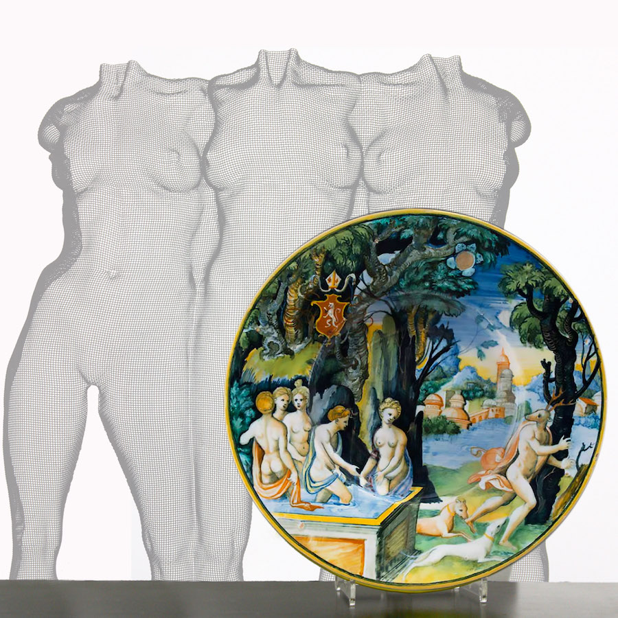 sculpture of three nude girls and raccanello leprince ceramic plate