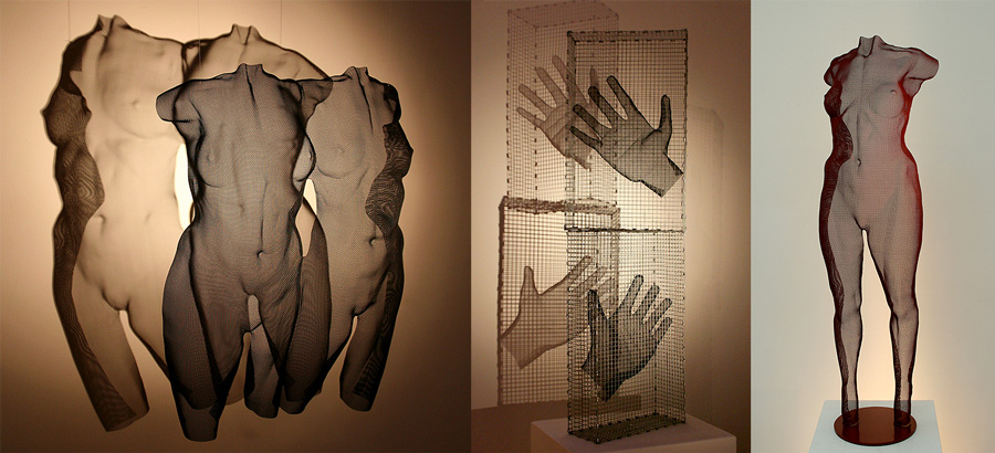 wire-mesh sculptures by David Begbie exhibited in The Netherlands 2017 at Biennale Brabant