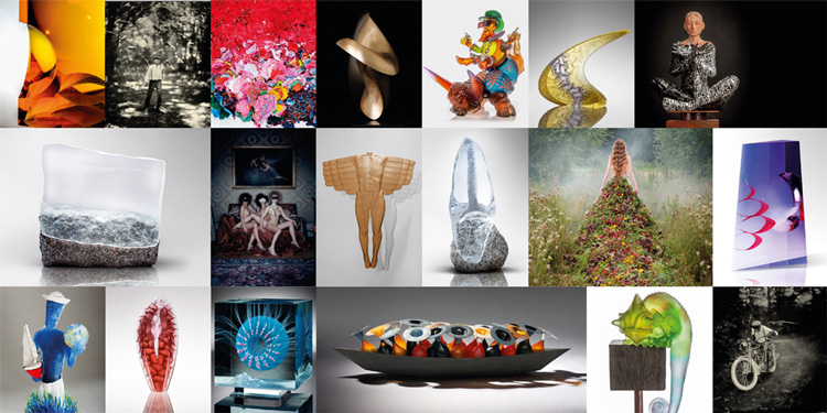 sculpture in glass and metal plus photography at art gallery Continuum