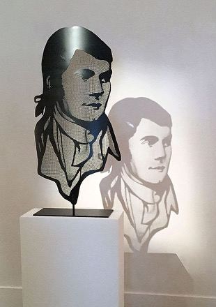 Robert Burns Portrait in half-transparent steel